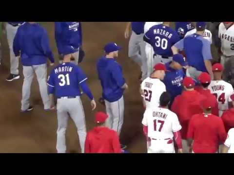 yt 2059 Shohei Ohtani Game Set vs Rangers 2018 06 01 - 【試合終了なのに乱闘⁉】大谷翔平選手 Shohei Ohtani Game Set  vs  Rangers 2018 06 01